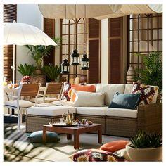 SOLLERÖN with footstool brown brown, Hållö beige, modular sofa, outdoor - IKEA Outdoor Stools, Outdoor Sofa, Outdoor Furniture Sets, Outdoor Decor, Outdoor Sectionals, Ikea Outdoor, Outdoor Living Rooms, Outdoor Spaces, Ikea Family
