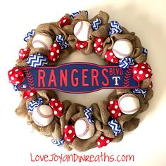 Texas Rangers Baseball Wreath with burlap and ribbon