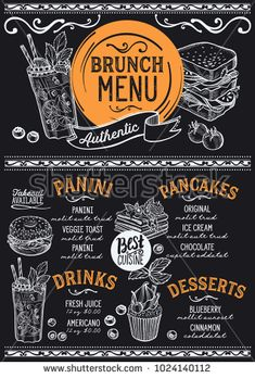 #Brunch restaurant #menu. Vector food flyer for bar and cafe. Design template with vintage hand-drawn illustrations.
