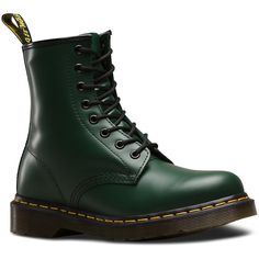 Dr. Martens Leather 1460 Boots (575 RON) ❤ liked on Polyvore featuring shoes, boots, green, genuine leather boots, green leather boots, unisex shoes, green shoes and leather shoes