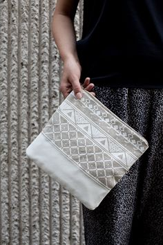 Triangle Printed Leather Pouch white  No ZP601 by CORIUMI on Etsy, $56.00