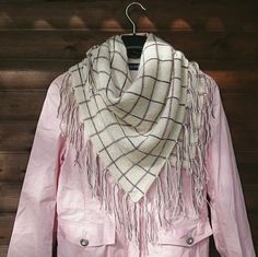 Hand knitted plaid shawl