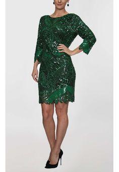 PowerLook Aluguel de Vestidos Online- POWERLOOK Vestido Ali curto de manga comprida bordado Powerlook - verde #ali #vestidocurto #mangacomprida  #bordado #verde #vestidocasamento #vestidofesta #vestidomadrinha #madrinha #noite