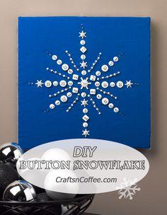 Beautiful! Tutorial for Button Snowflake Wall Art on CraftsnCoffee.com. #button #snowflake #diy #wallart