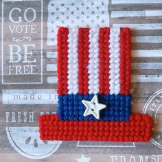 Plastic Canvas: Uncle Sam Hats Magnets set of by ReadySetSewbyEvie