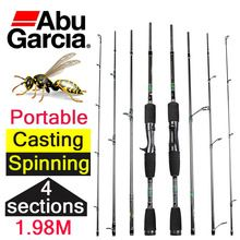 1.98m cheap abu garcia casting spinning carbon fiber fishing rod 4 sections casting rod for fishing spinning baitcasting pole(China (Mainland))