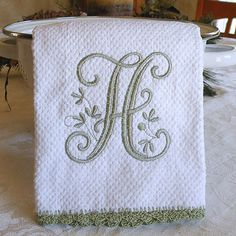 """Monogrammed Dish Towel, Monogrammed Kitchen Towel Sage Green    Love this! But with an """"M"""" instead."""