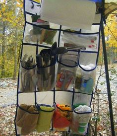 Cool Camping Tricks and Tips Pure Genius! A shoe organizer to keep all your camping essentials off the ground & handy! A shoe organizer to keep all your camping essentials off the ground & handy! Camping 101, Camping Ideas, Camping Glamping, Camping Supplies, Camping Checklist, Camping Essentials, Camping Survival, Camping Life, Family Camping