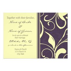 Yellow Purple Floral Elegant Wedding Invitations  Click on photo to purchase. Check out all current coupon offers and save! http://www.zazzle.com/coupons?rf=238785193994622463