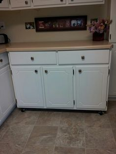 Cutting table back in its spot Kitchen Cupboards, Kitchen Sink, Low Cabinet, Sewing, Table, Room, Home Decor, Restaining Kitchen Cabinets, Kitchen Maid Cabinets