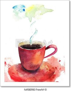 A cup of coffee - Artwork  - Art Print from FreeArt.com