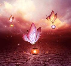 Butterflies artwork,Fantasy butterflies,purple butterflies,pink butterflies,butterfly wall art,butterfly decor,Butterfly lights,lanterns