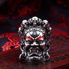Unique Design Stainless Steel Buddha God of Wealth Ring Fashion Jewelry For Men Punk Gift Adjustable - Men's style Ruby Jewelry, Turquoise Jewelry, Gemstone Jewelry, Jewelry Rings, Silver Jewelry, Fine Jewelry, Jewellery, Silver Ring, Steel Jewelry