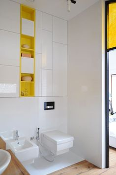 Colorful-apartment-in-Poland-en-suite-bathroom-storage - Home Decorating Trends - Homedit Bathroom Design Inspiration, Bad Inspiration, Bathroom Interior Design, Colorful Apartment, Yellow Bathrooms, Bathroom Colors, House And Home Magazine, Contemporary Interior, Bathroom Storage