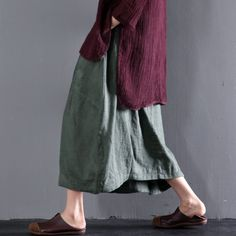 Green women linen skirts plus size linen clothing summerThis dress is made of cotton or linen fabric, soft and breathy, suitable for summer, so loose dresses to make you comfortable all the time.Measurement:  Size M length 74cm / 28.86