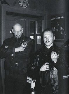 Anton LaVey & Peter H. Gilmore in The Black House (early 1990's).