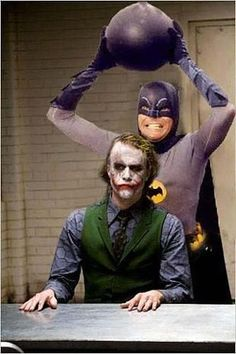Adam West's Batman meets Heath Ledger's Joker. Somehow I think this Batman would lose. Hmmm...