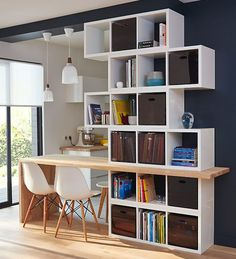 Home Office Diy Ikea Shelving Units 17 Ideas For 2019 Home Office Storage, Living Room Storage, Home Office Design, Office Designs, Fireplace Bookshelves, Bookcase, Semi Open Kitchen, Open Kitchens, Ikea Shelving Unit