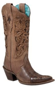 Corral® Ladies Brown w/ Chocolate Inlayed Floral Tool Pointed Toe Western Boots | Cavender's. Such a pain in the ass to condition the leather due to the detailing, but it's a gorgeous boot that I love to wear in the summer. Still holding up after two years. Very wide calf, but I run into that with my 11-12 shoe size so they're nearly impossible for me to wear under jeans, unfortunately. I get lots of compliments on these especially from men who know their cowboy boots.