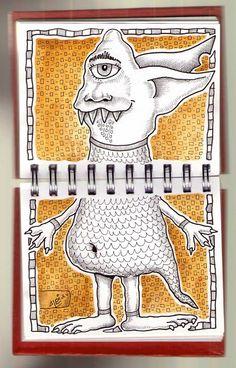Ilustrador Alexiev Gandman: Hay un monstruo doble en mi anotador
