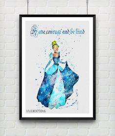 Cinderella Disney Watercolor Art Print by VIVIDEDITIONS