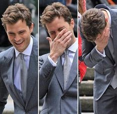 Jamie Dornan as Mr. Grey - he seems to be finding it hilarious...