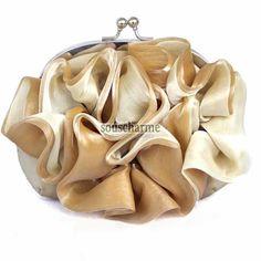 Pochette soirée champagne sac à main tendance pas cher en mousseline et organza froufrou floral