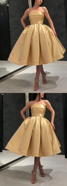 Short Gold Prom Dresses,Strapless Homecoming Dresses,Short Evening Dresses,Vintage 1950s Fashion Dress,Gold Homecoming Dress,Knee Length Evening Dress