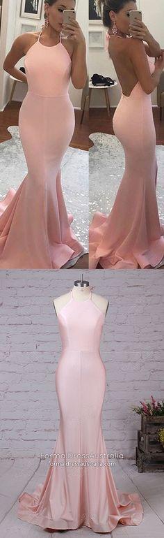 Pink Formal Dresses Long, Mermaid Prom Dresses For Teens, Elegant Graduation Dresses Open Back, Unique Pageant Dresses Halter Prom Dresses Long Pink, Simple Prom Dress, Formal Dresses For Teens, Elegant Prom Dresses, Beautiful Prom Dresses, Cheap Prom Dresses, Pageant Dresses, Prom Gowns, Dress Formal
