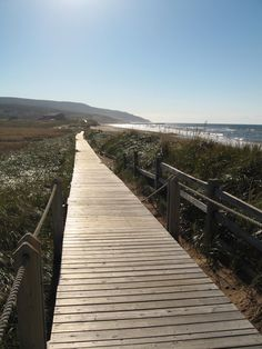 The boardwalk along Inverness beach - Cape Breton Island, Nova Scotia - Canada.