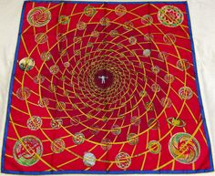 "HERMES ""Feux de l'Espace"" by Michel Duchene Red Silk Scarf"