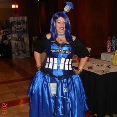 This is the TARDIS costume I made for several con's!!!  I think it turned out pretty cool!   :-)  Tardis Dress - Imgur