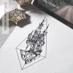 Dotwork castle mountain thigh sternum tattoo design - www.skinque.com