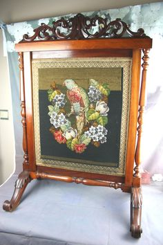 Exclusive XL gorgeous French 'antique' petit point Fireplace screen wood bird | eBay