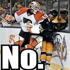 NHL offseason All those missed goalie interference calls eventually catch up to you . Flyers Hockey, Bruins Hockey, Hockey Goalie, Hockey Games, Hockey Mom, Field Hockey, Hockey Stuff, Hockey Sport, Funny Hockey Memes