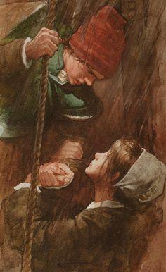 PJ Lynch - The boy who fell off the mayflower Native American Warrior, Children's Book Illustration, Book Illustrations, May Flowers, Vintage Postcards, American Art, Art Pictures, Illustrators, Fantasy Art