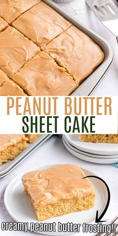 This Peanut Butter Sheet Cake is an unbelievably moist, rich, peanut butter cake with creamy peanut butter frosting poured on top. Similar to Texas Sheet Cake, but for the peanut butter lover instead! Peanut Butter Sheet Cake, Peanut Butter Frosting, Peanut Butter Recipes, Butter Cakes, Sheet Cake Recipes, Pound Cake Recipes, Sheet Cakes, Great Desserts, Delicious Desserts