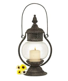 Spike Dog Lantern Decor powdercoated metal for tealight candles