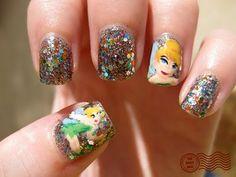 Glittery Tinkerbell Mani