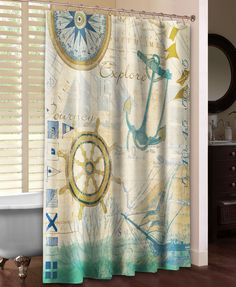 "Set sail on a whimsical maritime journey with Laural Home's ""Mariner Sentiment Shower Curtain."" Anchors, sailboats, compasses and other nautical icons are set against a background of maps, words and c"