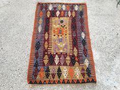 Super Fine Vintage Turkish Anatolian Kilim Rug, Distressed Kilim Rug, Orange Kilim Rug, Vibrant Colors, Geometric Design, Symetric Design by NotonlyRugs on Etsy