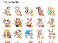 Today we have a telegram sticker pack with a gentle rabbit Add Stickers Telegram Stickers, Rabbit, Character Design, Packing, Comics, Bunny, Bag Packaging, Rabbits, Bunnies