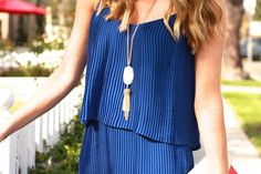 kendra scott tassel necklace and a cas blue dress TEXANS #kendrascott #teamKS