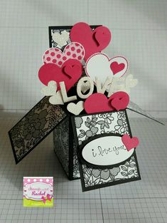 Handmade card, card in a box, Valentines day card black . Valentine Greeting Cards, Valentine Day Cards, Greeting Cards Handmade, Wedding Cards Handmade, Handmade Birthday Cards, Birthday Gifts, Fancy Fold Cards, Folded Cards, Explosion Box Design