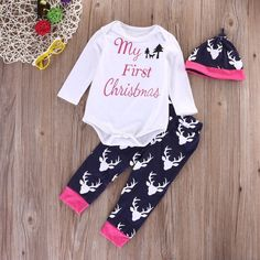 3e9d7a99310e7 My First Christmas Infant Baby Boy Girl 3Pcs Outfit Beanie Babygrow Pant Clothes  My First Christmas