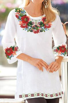 Polish Embroidery, Embroidery On Clothes, Silk Ribbon Embroidery, Embroidery Fashion, American Girl Outfits, Clothing Patterns, Dress Patterns, Ethno Style, Mexican Dresses