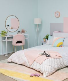 Benjamin Moore Barely Teal paint: A Sophisticated Pastel Bedroom / via Oh Joy! bedroom pastel a sophisticated pastel bedroom. - Oh Joy! Pastel Room Decor, Pastel Bedroom, Pastel Living Room, Room Ideas Bedroom, Home Decor Bedroom, Bedroom Furniture, Rustic Furniture, Antique Furniture, Diy Bedroom