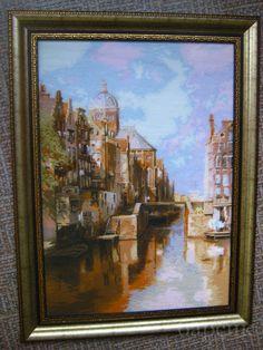 "Риолис ""Канал Аудезейтс,Амстердам""40х60см,шерсть мулине Анкор.Шила 4 месяца,без..."