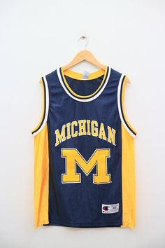 404748b57079 MICHIGAN Wolverines Men Basketball Team Champion 11 Blue Yellow Vintage  Jersey  mensbasketball Vintage Jerseys