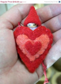 ON SALE Valentine Heart Nacklace, Valentine's Day Playset, Waldorf Gnome Baby Pouch, Heart Ornament, Upcycled eco toy, red, salmon, lavende. $13.60, via Etsy.